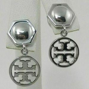 - Tory Burch logo circle drop earrings